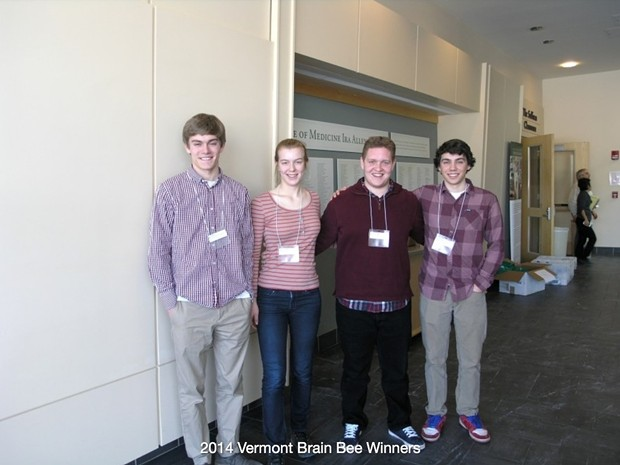 Winners of the 2014 Vermont Brain Bee - COURTESY OF THE VERMONT BRAIN BEE