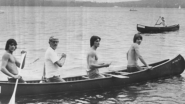 Bruce MacDonald, far left, with his father, Russ, and brotehrs Kevin and Andrew