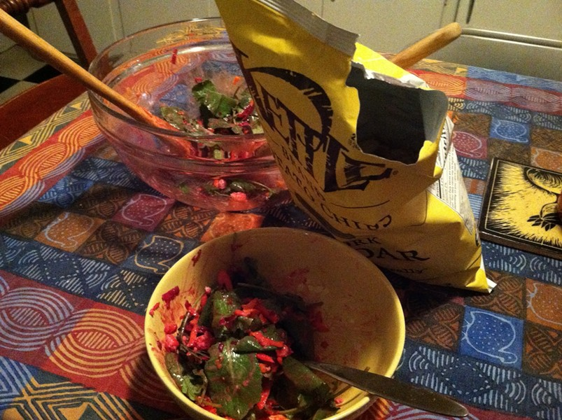Dinner on a great day: salad and chips! - MEGAN JAMES