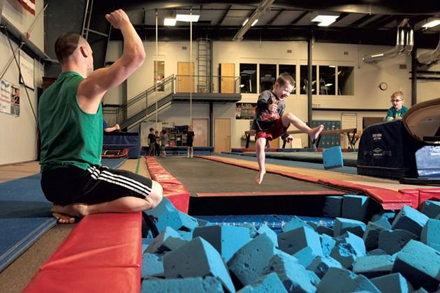 Coach Jarrett Bergeron encourages an enthusiastic student - MATTHEW THORSEN
