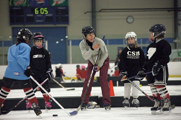 CSB U8 coach Laurie Brown instructs her players during practice - MATTHEW THORSEN