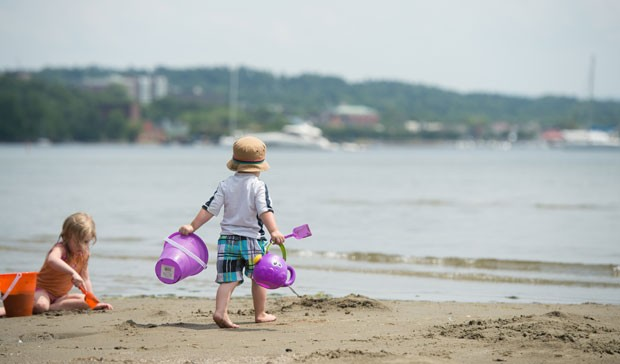 Eli Wright, 2, of South Hadley, MA, at North Beach in Burlington
