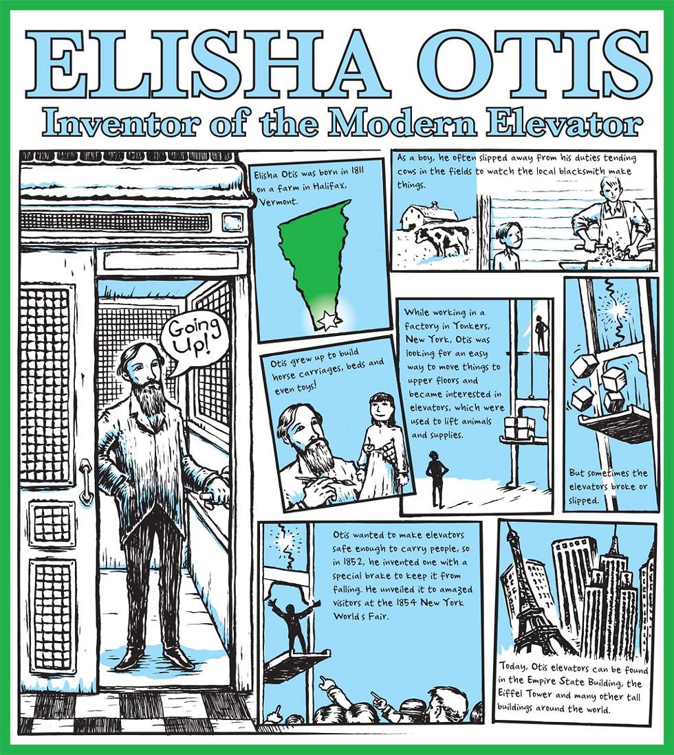 Elisha Otis cartoon