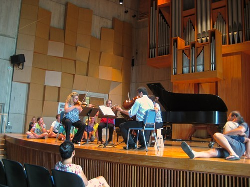 Families listen and watch at a recent concert at the UVM recital hall - SACHI LEITH