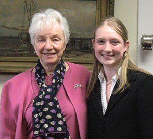 COURTESY OF MARY ELLEN HETTINGER - Former Vermont Gov. Madeline Kunin with a Girls Rock the Capitol intern