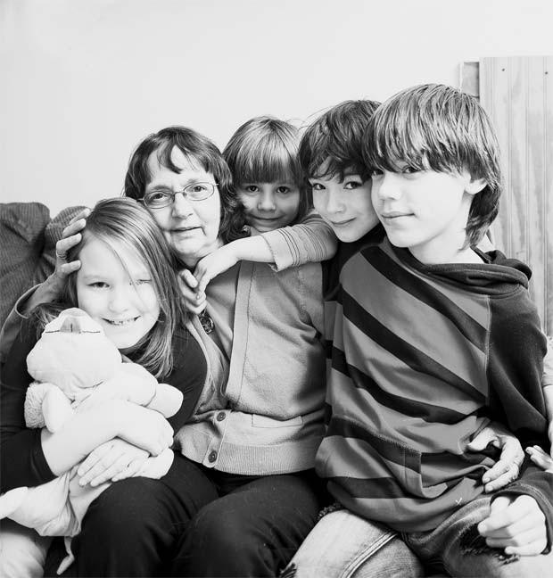 From left, Emily, 8, Brenda, 56, Alianna, 6, Zachary, 8, and Dyllan, 13