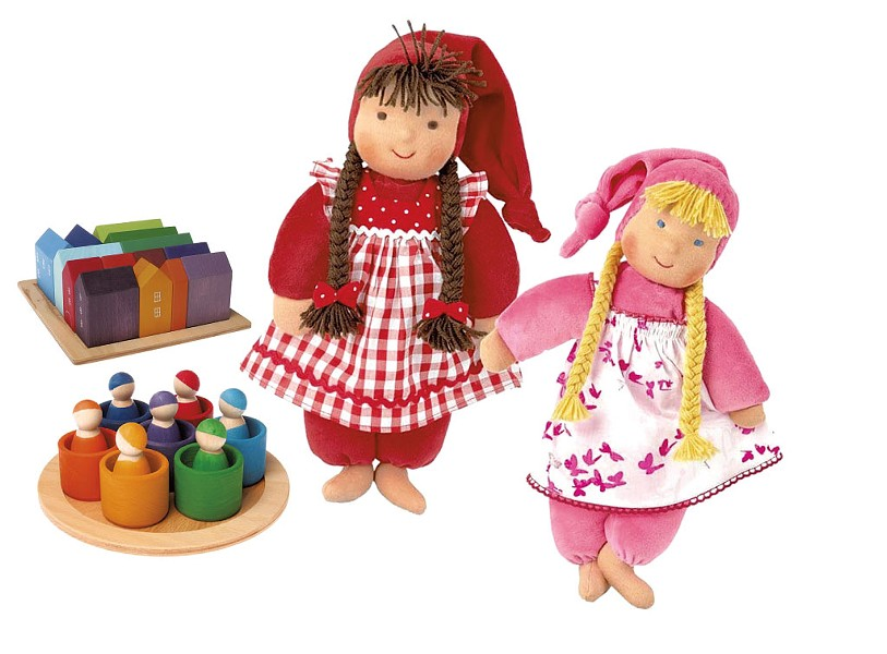 Kathe Kruse baby/toddler dolls, $69; wooden peg dolls with matching bowls, $59; small set of wooden house blocks, $75 at Jamie Two Coats Toy Shop