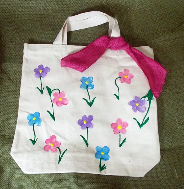 Kids Craft Fingerprint Flower Tote Bag Creative Habitat