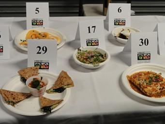 Broccoli-Pesto Torticotti (#29), Confetti Spaghetti Casserole (#30) and other dishes ready for judging. - ANA RUESINK