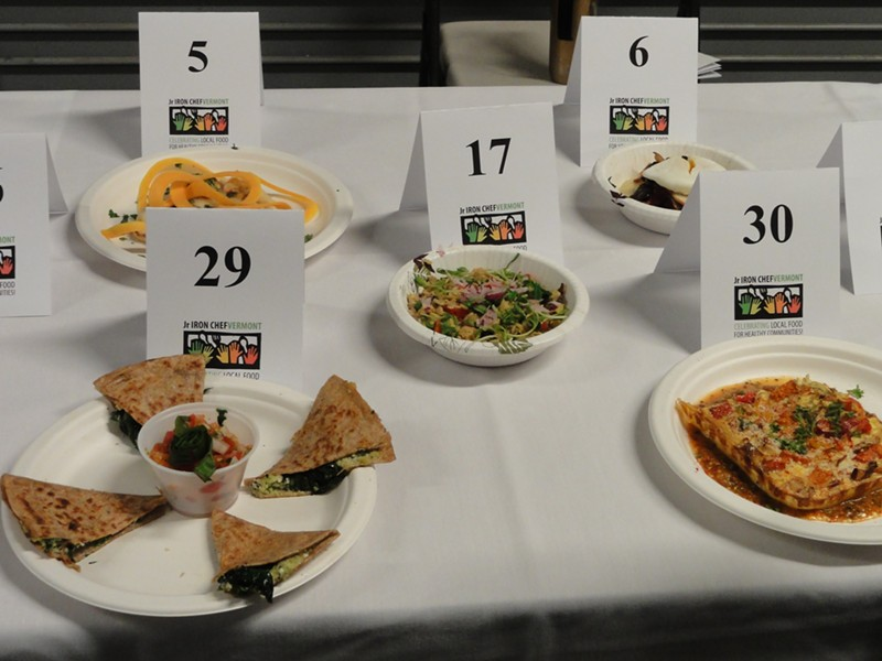 Broccoli-Pesto Torticotti (#29), Confetti Spaghetti Casserole (#30) and other dishes ready for judging. - ANA RUESINK