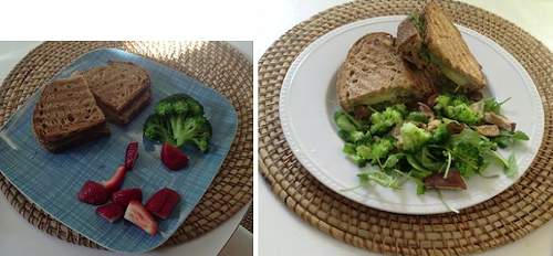Left: Kids grilled cheese, served with broccoli and strawberries. Right: Adults grilled cheese served with a side salad of arugula, locally foraged mushrooms and broccoli