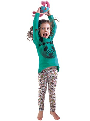 On Lienna: Munster kids Warrior top, $40. Mini & Maximus Mountain leggings, $35 at Minou Kids.