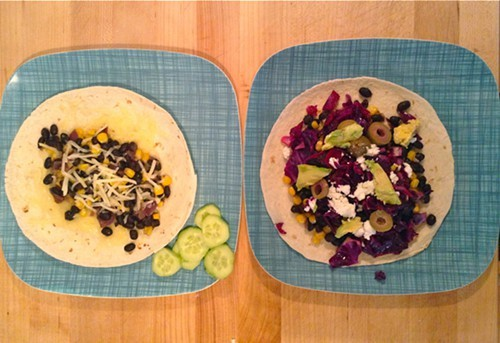 Tacos for kids (left) and adults (right)