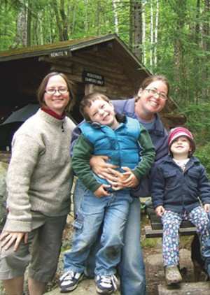 The Johnson-Resmer family: Cathy, Graham, Ann-Elise and Ivy at Kettle Pond