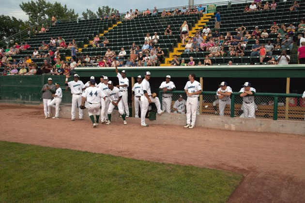 The Lake Monsters dugout during a game