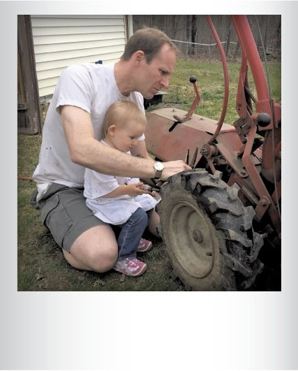 """Eloise Luce """"helping"""" dad, Craig Luce, with the tillerlast month. Submitted by Morgan Luce, Underhill."""
