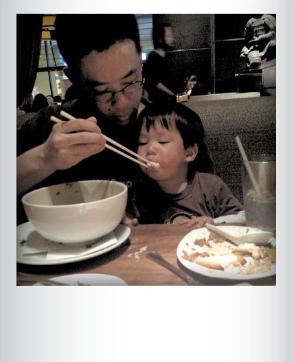 Mitchell and Parker Tsai eating Chinese food in Providence, R.I. in April. Submitted by Sheramy Tsai, South Burlington
