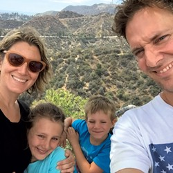 A family photo at the top of L.A.'s Griffith Park