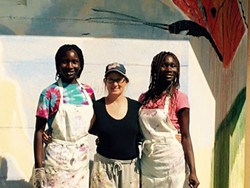 Maggie Standley (center) with teen muralists - COURTESY OF MAGGIE STANDLEY