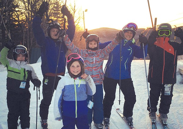 The Tebbetts family with friends at Bolton Valley - COURTESY OF VICKI TEBBETTS