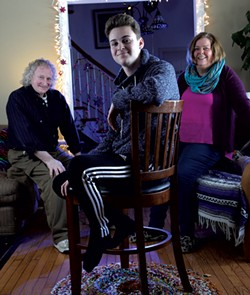 Marcus at home with his parents, Chuck and Penny - MATTHEW THORSEN