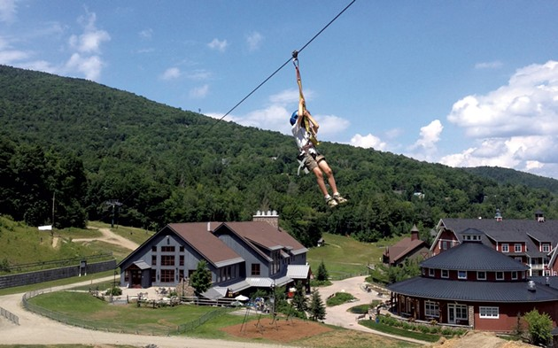 Zac riding the zip line at Sugarbush - JANET ESSMAN FRANZ