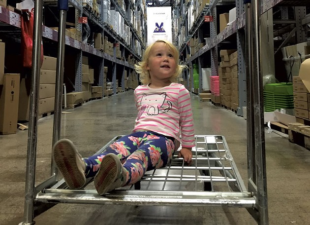 Joni riding through the warehouse - COURTESY OF MEGAN JAMES