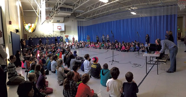 The students of Champlain Elementary School record a song for the album - MATTHEW THORSEN