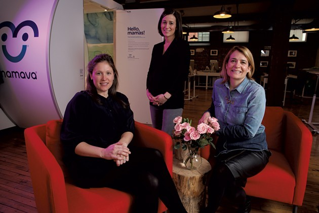 Mama cofounder and CEO Sascha Mayer (right) with employees Annie Ode (left) and Nikkie Kent - MATTHEW THORSEN