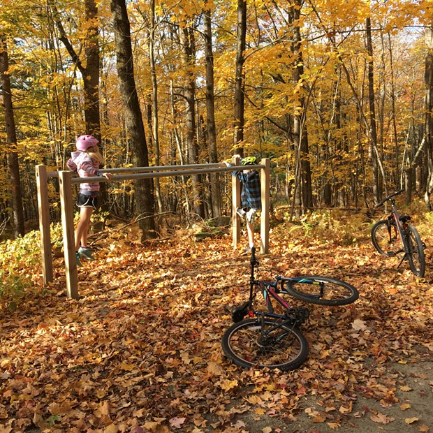 Dillon (left) and Harper play on parallel bars in the woods of Trapp Family Lodge - COURTESY OF SARAH TUFF DUNN