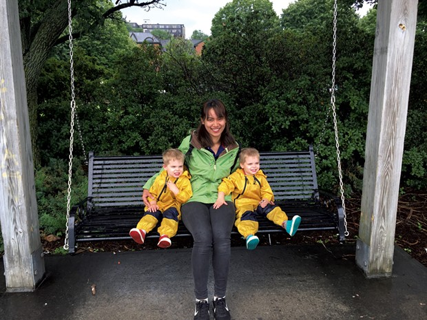 "Au pair Wipada ""Anna"" Kasikorn with the Downes twins"
