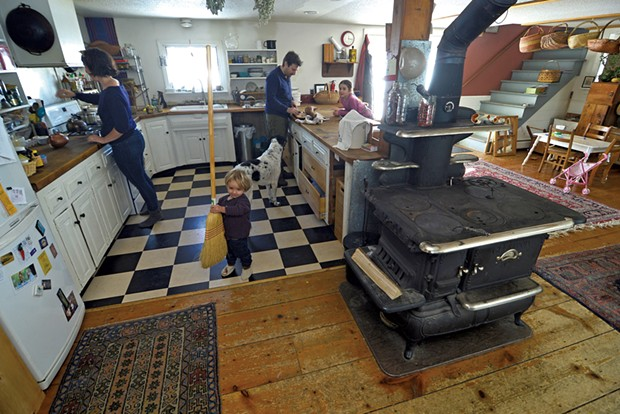 The family's East Hardwick abode features a wood-burning cookstove. - STEFAN HARD