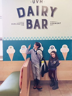 Henry and Ruby checking out UVM's in-house ice cream shop - HEATHER POLIFKA-RIVAS