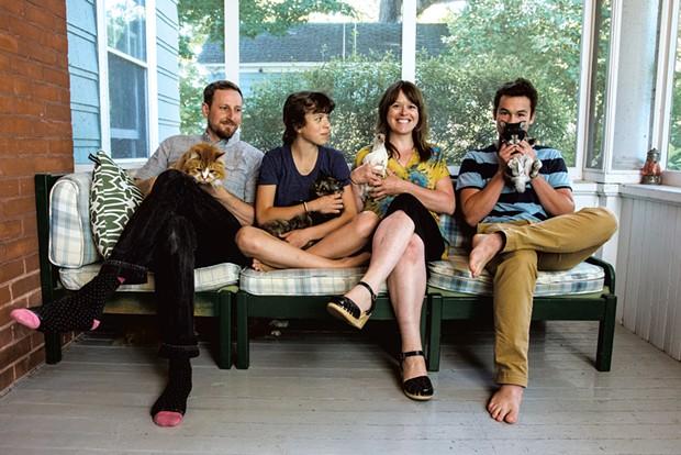Sarah DeSilvey, 43, with kids Norah, 12, and Ewan, 16  - Animals, left to right: Nova, Helen the Third, Bunny - SAM SIMON