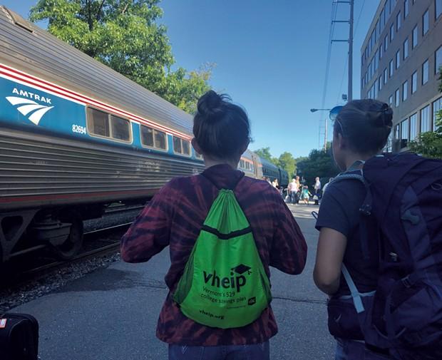 Maverick and Gabriela at the Brattleboro train station - BRETT STANCIU