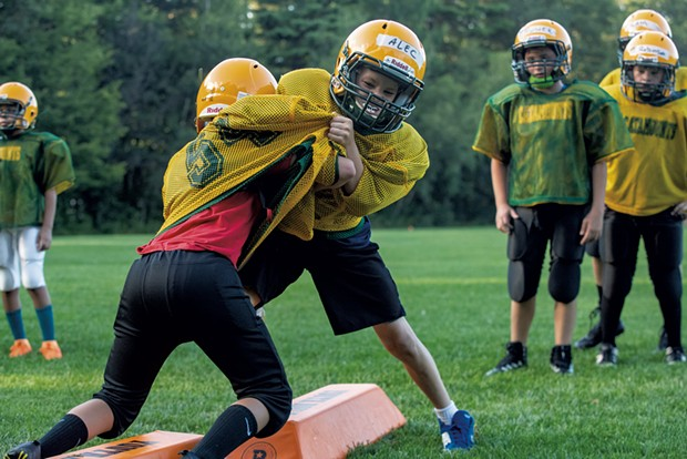 Colchester Catamounts players training for the fall football season - JAMES BUCK