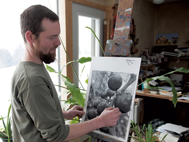 Neddo draws with charcoal he made from wild grapevine - COURTESY OF SUSAN TEARE