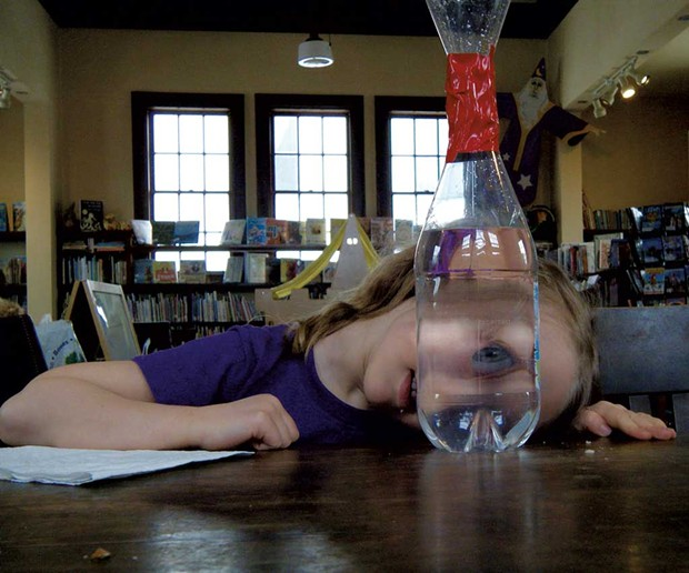 Creating tornadoes in a bottle at Irasburg's Leach Public Library - COURTESY OF MOLLY VEYSEY