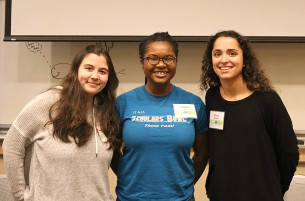 Brain Bee winner Vilena Lee (center) with second place finisher Isabelle Petrucci of Essex High School (left) and third place finisher Grace Widelitz of Middlebury Union High School - COURTESY OF LISA BERNARDIN