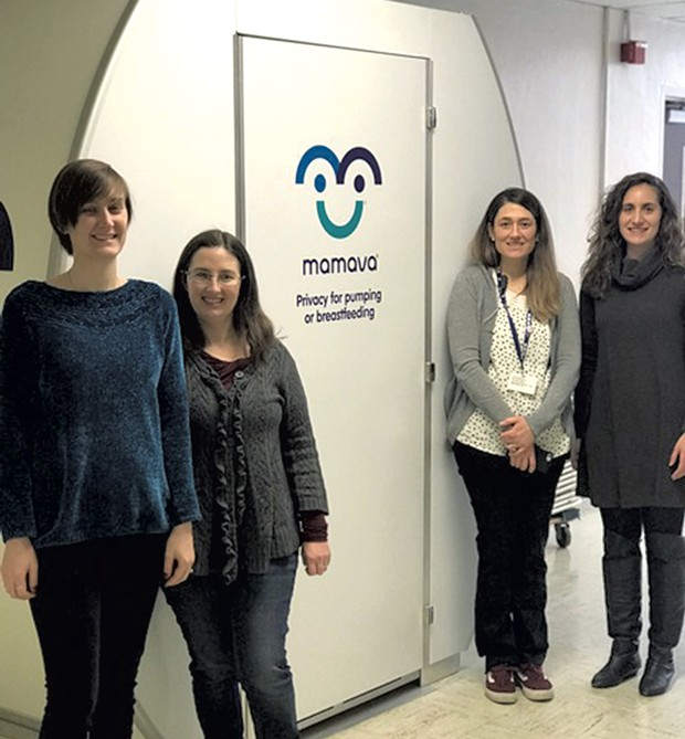 BHS employees and new moms Kelsey Shannon, Molly Roach, Lauren McBride and Francesca Dupuis with the school's new Mamava suite - COURTESY OF BURLINGTON SCHOOL DISTRICT