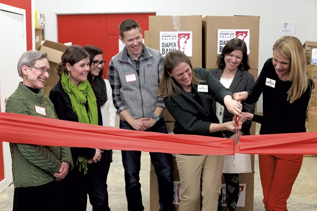 The March 7 ribbon-cutting ceremony for the Junior League of Champlain Valley's new diaper bank