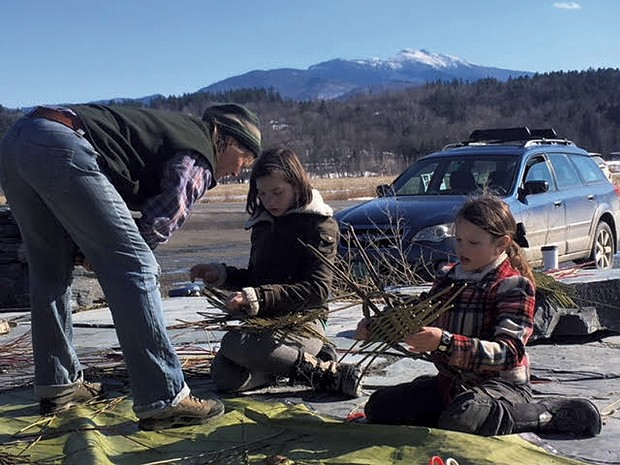 Penny Hewitt teaching basketmaking to Téa and Rhea Ferris - COURTESY OF PENNY HEWITT