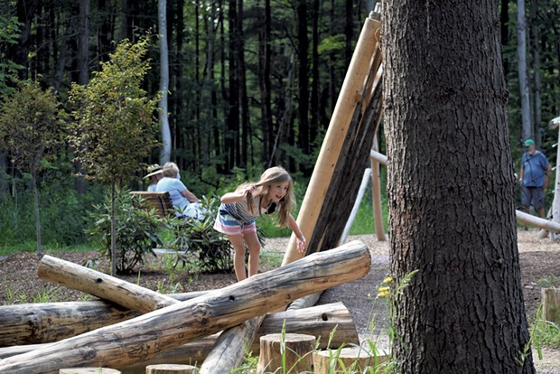 A rustic balance beam - COURTESY OF SOUTH BURLINGTON RECREATION & PARKS