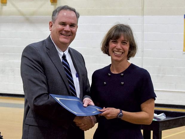 Vermont Education Secretary Dan French congratulates 2020 Teacher of the Year Elisabeth Kahn