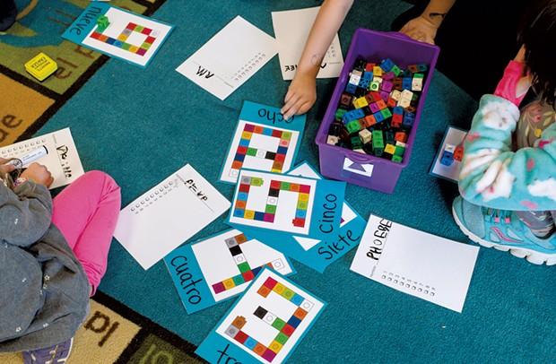 Ross' kindergartners take part in a math lesson - GLENN RUSSELL