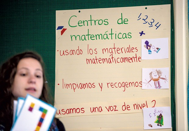 Ross leads a math lesson in her Spanish immersion classroom at Jericho Elementary School - GLENN RUSSELL