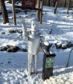 The Tin Man mascot at the trailhead - VICKI WILSON