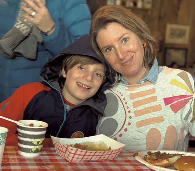 Alison and son Theo at Palmer's Sugarhouse last maple season