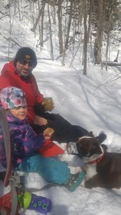 Sean, Winter and dog Blue enjoy an outdoor lunch - SEAN PRENTISS