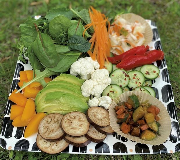 Plate filled with veggies - TRISH VAN VLIET